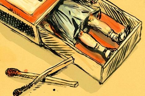 Una ilustración muestra a una niña metida en una caja de cerillas