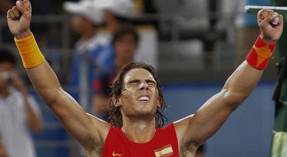 Nadal celebra su pase a la final olímpica. (Foto: EFE)