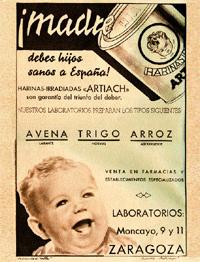 una gran responsabilidad... En los 40, la altura media de los varones era de 1,58 m. Tener hijos sanos era un deber y se bombardeaba a las madres con harinas milagrosas, eso sí, nacionales.