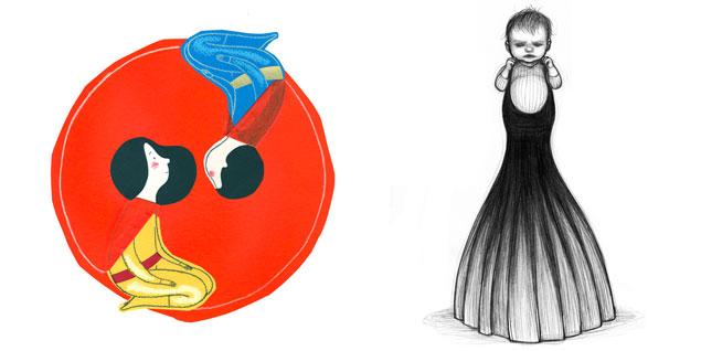 Ilustraciones de Claudia Ranucci y Noemí Villamuza para la exposición 'Estéreo-tipas'.