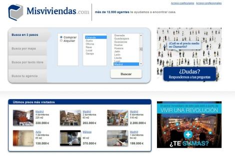 Imagen del home del portal 'Misviviendas.com'. | EM